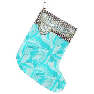 Girly Gift Stocking! Bling! Diamonds! Add Name! Large Christmas Stocking