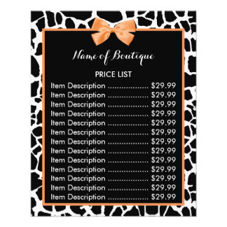 Girly Giraffe Print Orange Bow Boutique Price List 11.5 Cm X 14 Cm Flyer