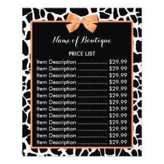 Girly Giraffe Print Orange Bow Boutique Price List 11.5 Cm X 14 Cm Flyer