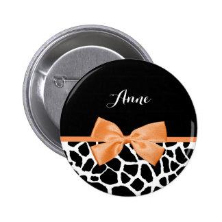 Girly Giraffe Print Orange Ribbon Bow With Name 6 Cm Round Badge