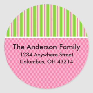Girly Girl Checks & Stripes Return Address Labels Round Sticker