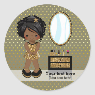 Girly girl gold - choose background color round sticker