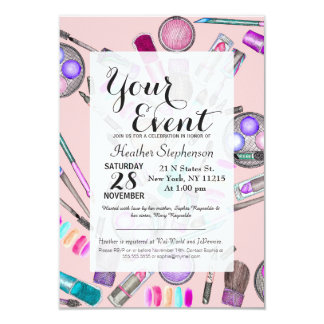 Girly Girl Hand Painted Watercolor Makeup on Pink 9 Cm X 13 Cm Invitation Card