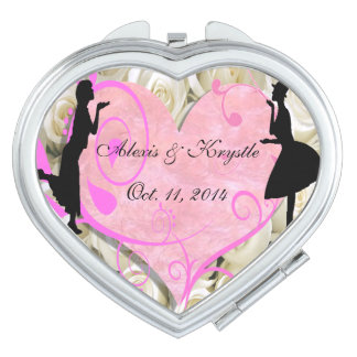 Girly Girl Lesbian Wedding Favor Compact Mirror