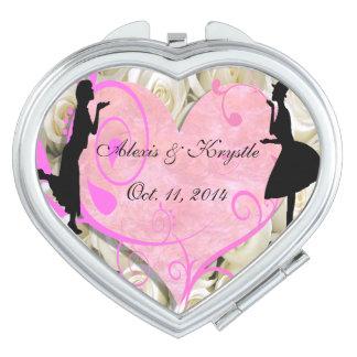 Girly Girl Lesbian Wedding Favor Compact Mirror