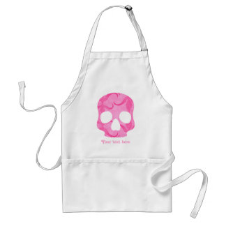 Girly girl pink elegant swirly skull standard apron