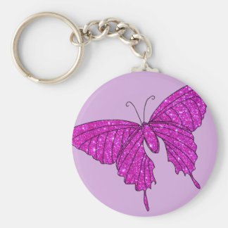 Girly Girl Pink Sparkle Glitter Butterfly Lilac Key Chain