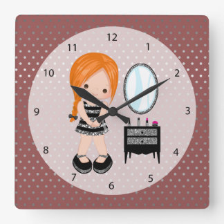 Girly girl silver - choose background color square wall clock