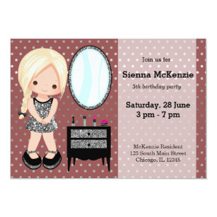 Girly girl silver - choose background colour invitation
