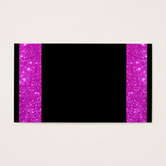 Girly Glam Black with Sparkly Pink Glitter Frame Business Card