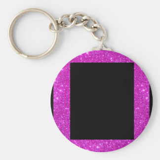 Girly Glam Black with Sparkly Pink Glitter Frame Keychains