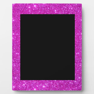 Girly Glam Black with Sparkly Pink Glitter Frame Photo Plaques