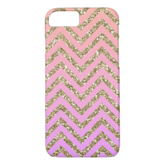 Girly Glam Gold & Pink Chevron iPhone 7 Case