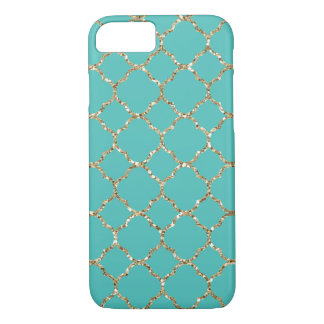 Girly Glam Gold Quatrefoil Teal iPhone 7 Case