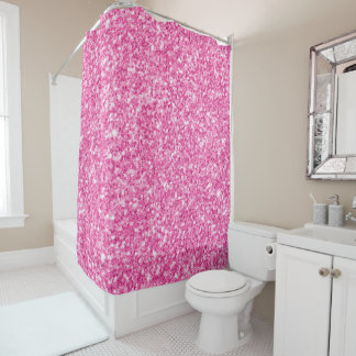 Girly Glam Pink Faux Glitter Background Shower Curtain