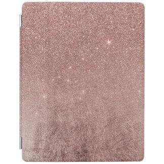 Girly Glam Pink Rose Gold Foil and Glitter Mesh iPad Cover