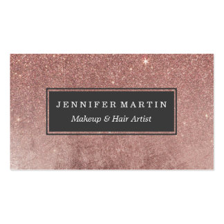 Girly Glam Pink Rose Gold Foil and Glitter Mesh Pack Of Standard Business Cards