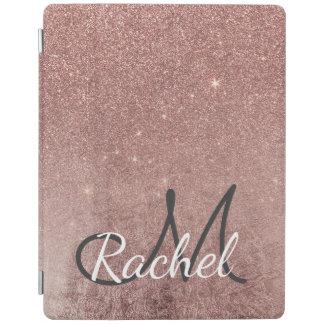 Girly Glam Pink Rose Gold Foil Glitter Monogram iPad Cover