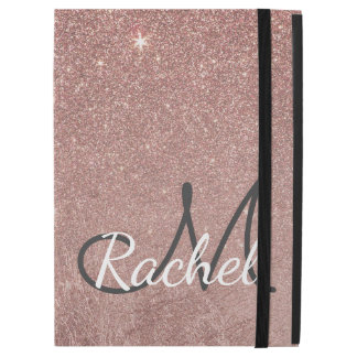 "Girly Glam Pink Rose Gold Foil Glitter Monogram iPad Pro 12.9"" Case"