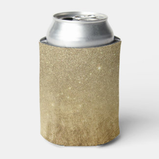 Girly Glamorous Gold Foil and Glitter Mesh Can Cooler