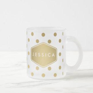 Girly Glitter Gold Polka Dots Pattern Monogram Frosted Glass Mug