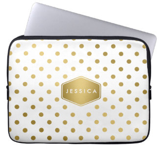 Girly Glitter Gold Polka Dots Pattern Monogram Laptop Sleeve