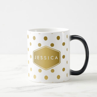 Girly Glitter Gold Polka Dots Pattern Monogram Magic Mug