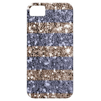 Girly Glitter Look Stripes in Violet Silver Barely There iPhone 5 Case