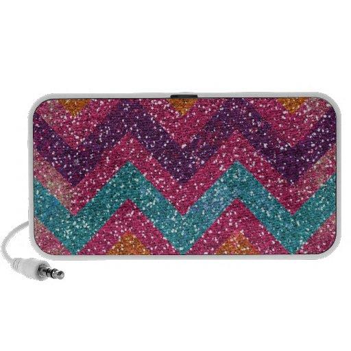Girly Glitter Print Chevron Stripes Teal Pink Notebook Speakers