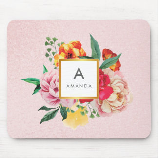 Girly Glitter Watercolor Peony Flowers Monogram Mouse Pad