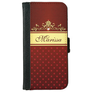 Girly Gold and Red Diamonds iPhone 6 Wallet Case