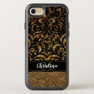 Girly Gold Black Elegant Damask Bling Monogram OtterBox Symmetry iPhone 8/7 Case