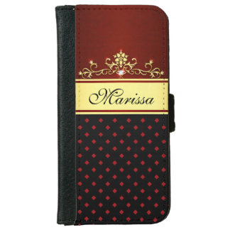 Girly Gold Black Red Diamonds iPhone 6 Wallet Case