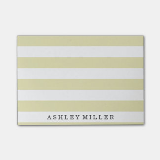 Girly Gold Classic Stripes Monogram Post-It Notes