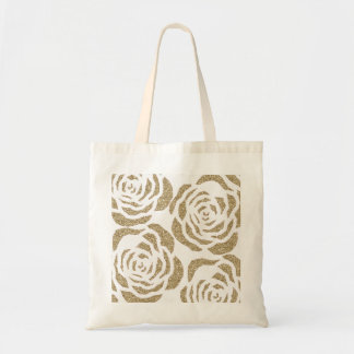 Girly Gold Faux Glitter Roses Floral Tote Bag