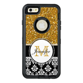Girly Gold Glitter Black Damask Personalised OtterBox Defender iPhone Case