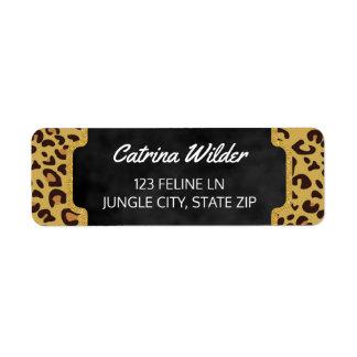 Girly Gold Glitter | Cheetah Wild Animal Print Return Address Label