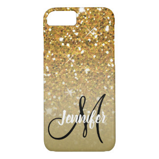Girly Gold Glitter Ombre Monogram Name iPhone 8/7 Case