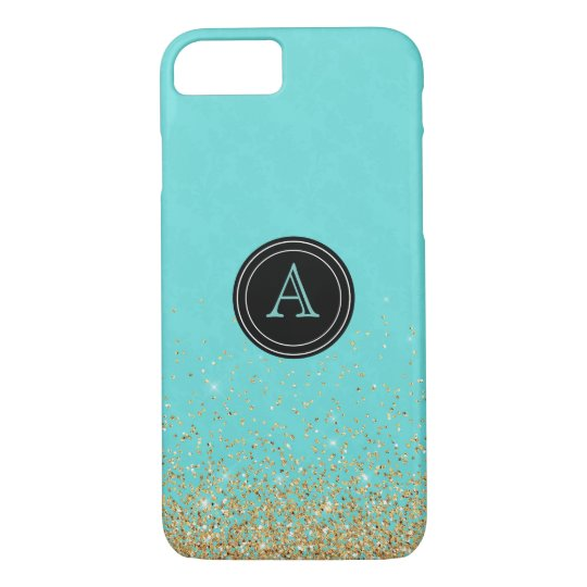 Girly Gold Glitter Teal Blue Monogram iPhone 8/7 Case