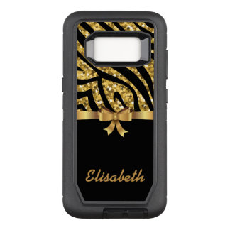 GIRLY GOLD glitter ZEBRA  black GOLD BOW monogram OtterBox Defender Samsung Galaxy S8 Case