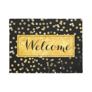 girly gold leaf dots on black welcome doormat