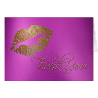 Girly Gold Lip Print Thank You Card