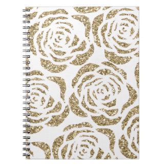 Girly Gold Rose Pattern Custom Spiral Notebook