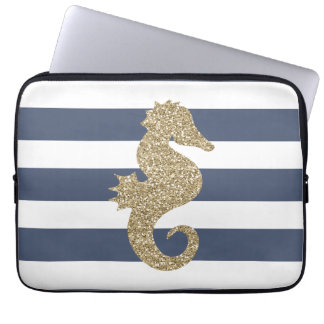 Girly Gold Seahorse Striped Laptop Computer Sleeve