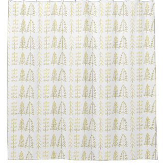 Girly Gold White Christmas Trees Pattern Modern Shower Curtain