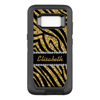 GIRLY GOLD ZEBRA glitter printed Diamonds monogram OtterBox Defender Samsung Galaxy S8 Case