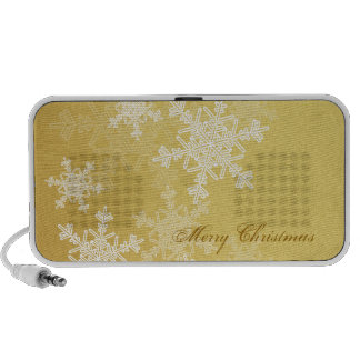Girly golden and white Christmas snowflakes Mini Speakers
