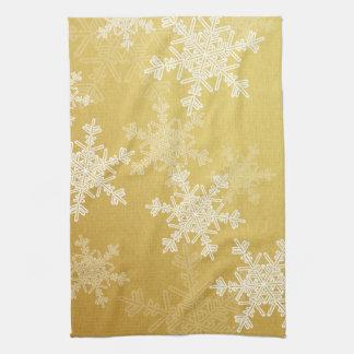 Girly golden and white Christmas snowflakes Tea Towel