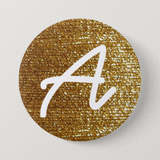girly golden personalized initial 7.5 cm round badge