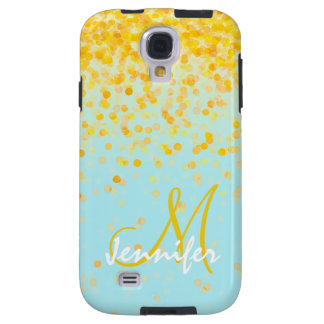 Girly golden yellow confetti turquoise ombre name galaxy s4 case